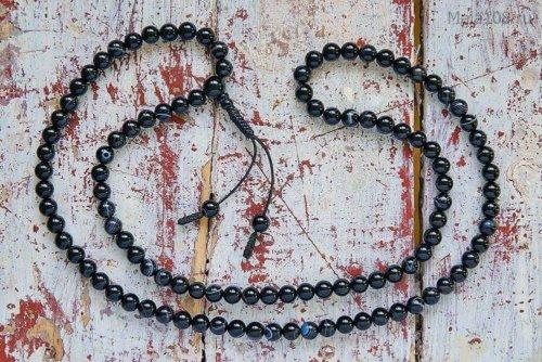 Классические буддийские четки из черного полированного агата