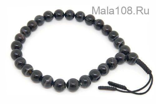 Крупноразмерные буддийские четки-браслет из черного агата 27 бусин