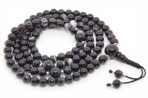 Изящные буддийские четки из черного агата 108 бусин