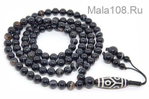Буддийские четки из черного агата с бусиной Дзи 108 бусин