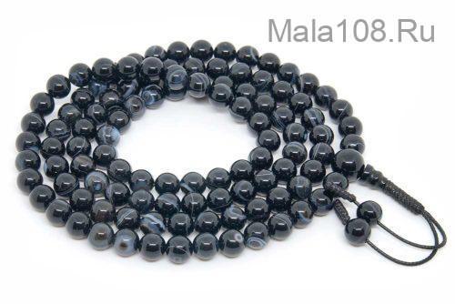 Классические буддийские четки из черного агата 108 бусин