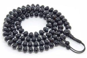 Классические буддийские четки из черного агата рондель 108 бусин
