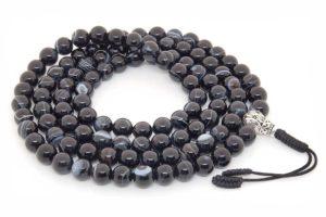Буддийские четки из черного агата 108 бусин с серебряной гуру