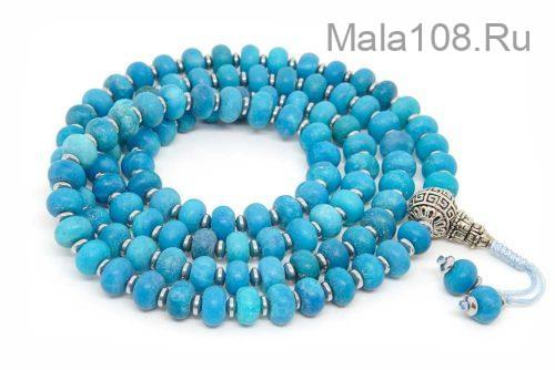 Буддийские четки из синего матового агата рондель 108 бусин