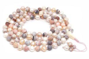 Классические буддийские четки из агата и розового жемчуга 108 бусин