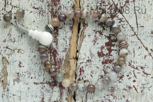 Изящные буддийские четки-браслет из бразильского агата 27 бусин
