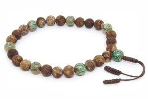 Крупные буддийские четки-браслет из кракелированного агата
