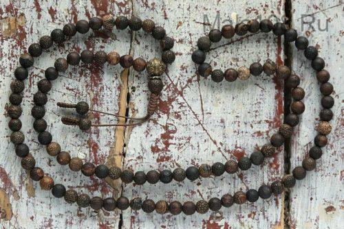Буддийские четки из кракелированного агата 108 бусин