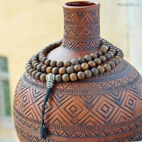 Крупные буддийские четки из матового коричневого термообработанного (кракелированного) агата