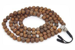 Крупные буддийские четки из кракелированного агата 108 бусин