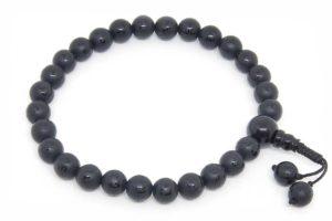 Буддийские четки-браслет из черного агата с мантрой 27 бусин