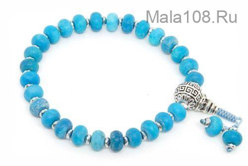 Буддийские четки-браслет из синего матового агата рондель 27 бусин