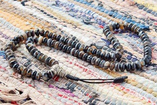 Крупные буддийские четки из полированного агата