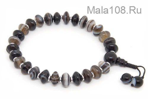 Крупноразмерные буддийские четки-браслет из черного агата-рондель
