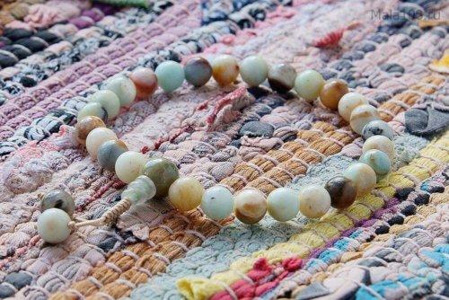 Буддийские четки-браслет из полированного амазонита, они же — четки на руку