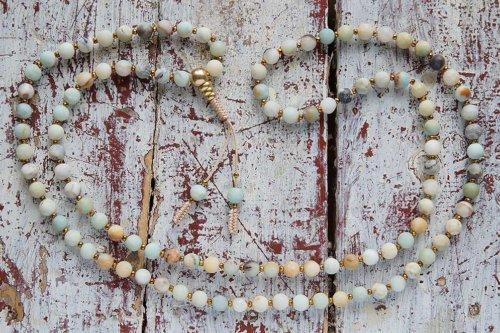 Классические буддийские четки из матового амазонита 108 бусин