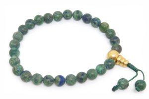Буддийские четки-браслет из матового азуромалахита 27 бусин