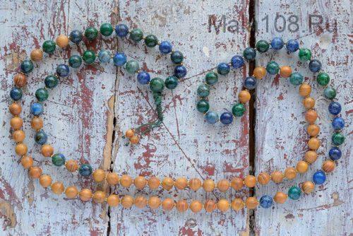 Классические буддийские четки из азуромалахита и дерева 108 бусин