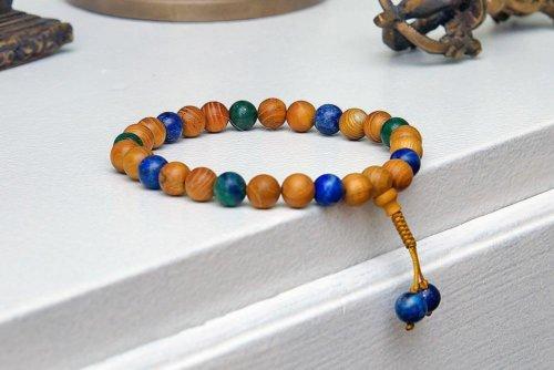 Буддийские четки-браслет из азуромалахита и дерева бокоте 27 бусин, они же — четки на руку