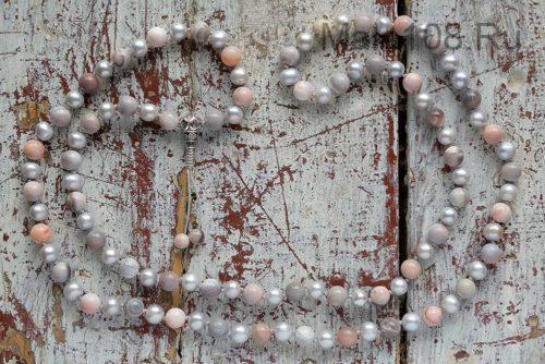 Буддийские четки из агата и жемчуга 108 бусин с серебряной гуру