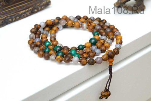 Изящные буддийские четки из малахита, агата и дерева афцелии 108 бусин