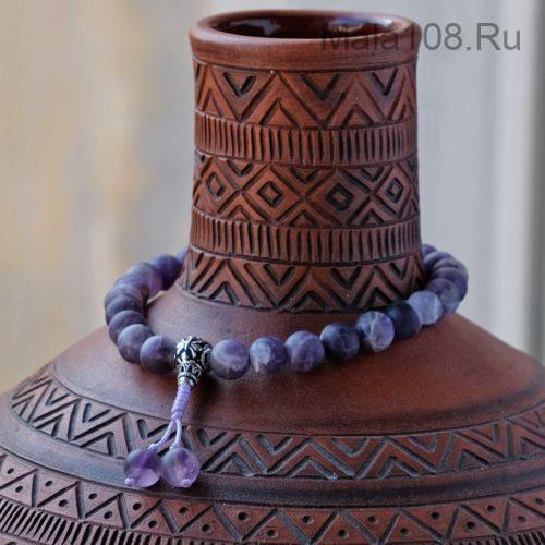 Буддийские четки-браслет из матового аметиста с серебряной гуру