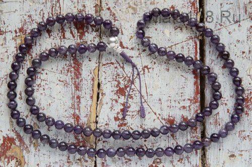 Буддийские четки из аметиста с серебряной гуру 108 бусин