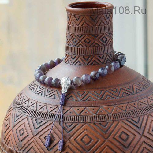 Крупные буддийские четки из аметиста 27 бусин с серебряной гуру