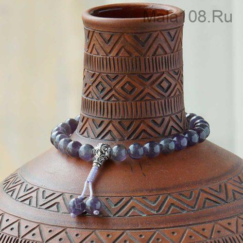 Буддийские четки-браслет из аметиста 27 бусин с серебряной гуру