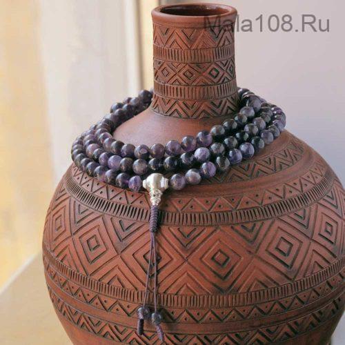 Крупные буддийские четки из аметиста с серебряной гуру 108 бусин