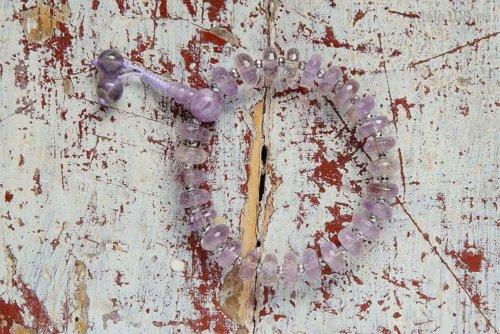 Полноразмерные буддийские четки-браслет из аметрина, они же — четки на руку