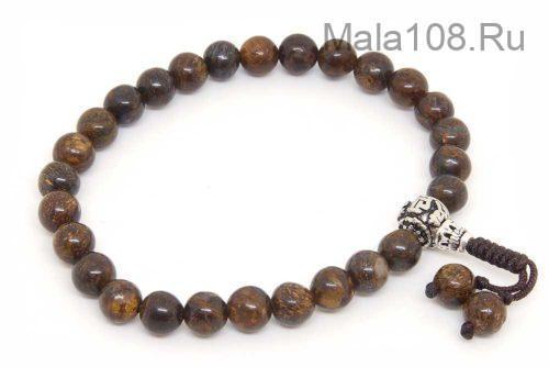 Изящные буддийские четки-браслет из бронзита 27 бусин