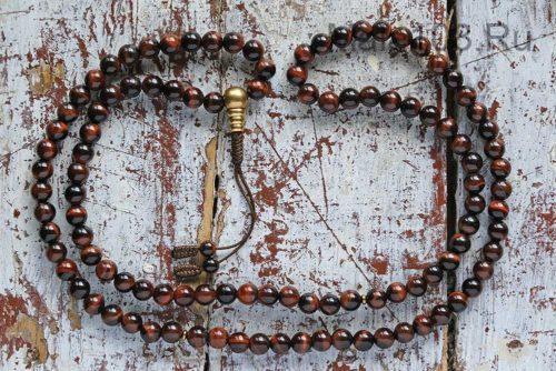 Буддийские четки из камня бычий глаз 108 бусин