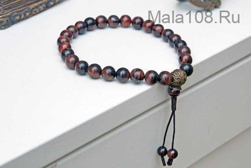 Буддийские четки-браслет из камня бычий глаз 27 бусин