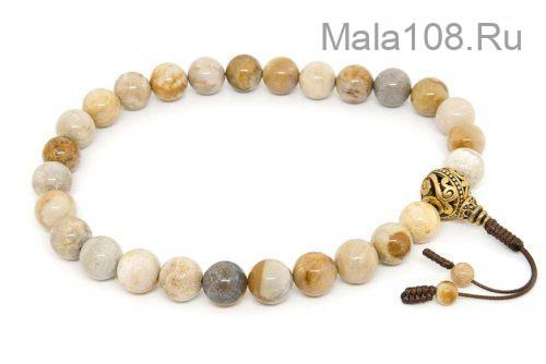 Крупные буддийские четки-браслет из желтого коралла 27 бусин