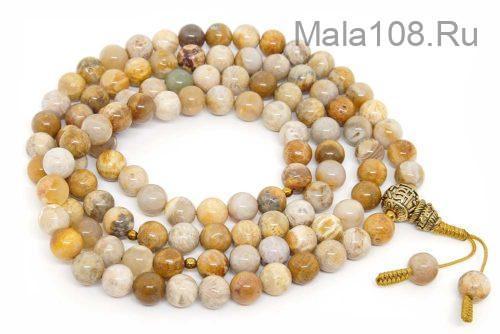 Классические буддийские четки из желтого коралла 108 бусин