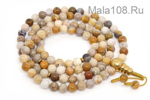 Буддийские четки из желтого коралла 108 бусин