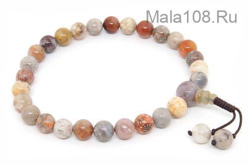 Буддийские четки-браслет из коралла 27 бусин