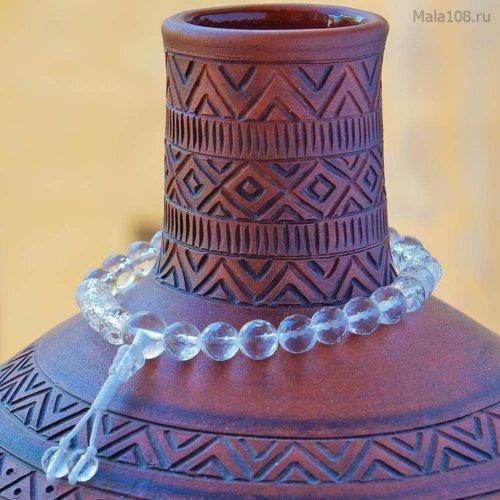 Буддийские четки-браслет из граненого хрусталя, они же — четки на руку