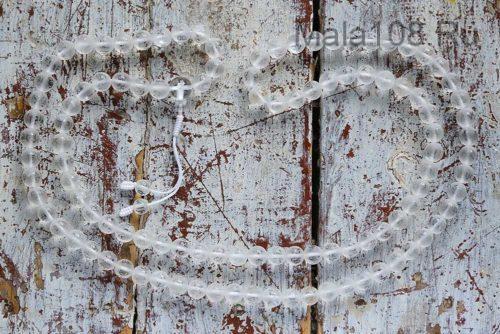 Крупные буддийские четки из матового хрусталя с мантрой 108 бусин