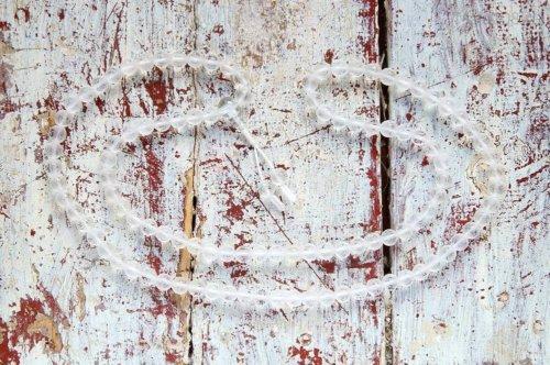 Буддийские четки из матового хрусталя с мантрой 108 бусин