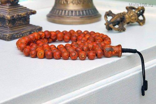 Крупные буддийские четки из матовых бусин Дзи 3 глаза