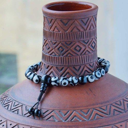 Буддийские четки-браслет из 27 черно-белых бусин Дзи