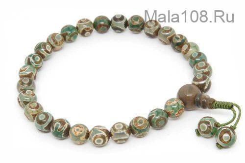 Классические буддийские четки-браслет из зеленых бусин Дзи