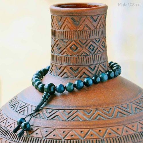 Классические буддийские четки-браслет из соколиного глаза 27 бусин, они же — четки на руку