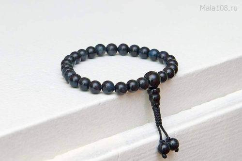 Изящные буддийские четки-браслет из камня соколиный глаз 27 бусин, они же — четки на руку