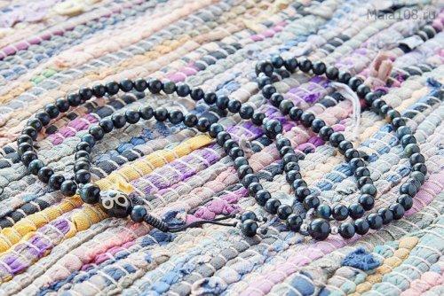 Изящные буддийские четки из камня соколиный глаз с бусиной Дзи