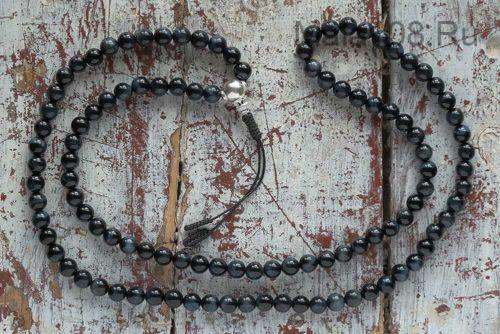 Буддийские четки из соколиного глаза с серебряной гуру 108 бусин