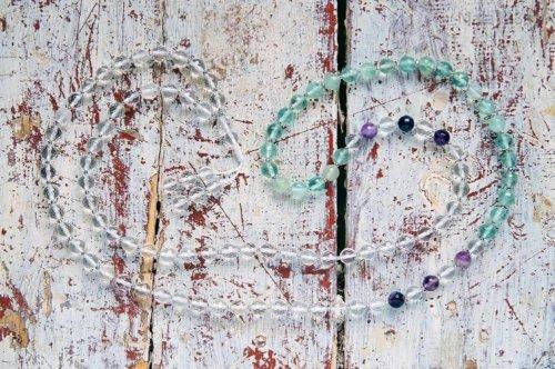 Классические буддийские четки из граненого хрусталя и аметиста