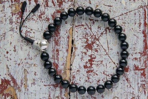 Крупные буддийские четки-браслет из гагата с серебряной гуру